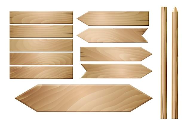 Pranchas de madeira de vetor isoladas no fundo branco.