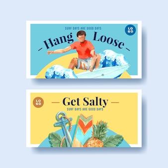 Pranchas de surf na praia design para ilustração em vetor aquarela tropical de férias de verão