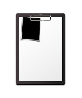 Prancheta com folha de papel e modelo de foto questionário ou formulário em branco para cima
