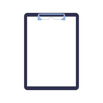 Prancheta com folha de papel em branco e clipe de blinder isolado no fundo branco.