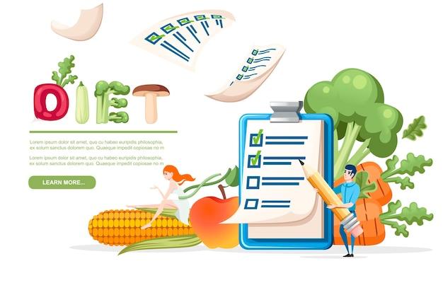 Prancheta com lista de verificação e homem segurando o conceito de dieta de lápis com vetor de vegetais