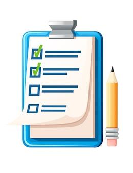Prancheta com lista de verificação e ilustração em vetor plana a lápis sobre fundo branco.