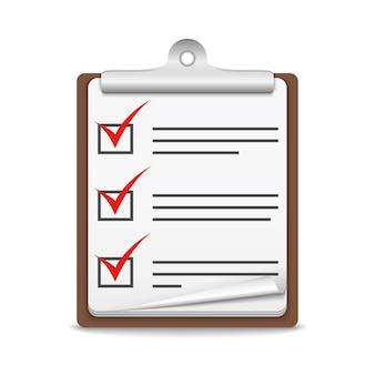 Prancheta com lista de verificação no fundo branco, ilustração em vetor eps10