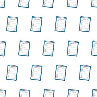Prancheta com lista de verificação padrão sem emenda em um fundo branco. ilustração em vetor do tema da lista de verificação
