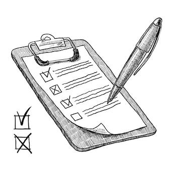 Prancheta com lista de verificação