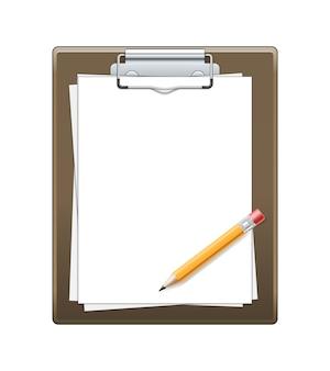 Prancheta com papel e lápis isolado