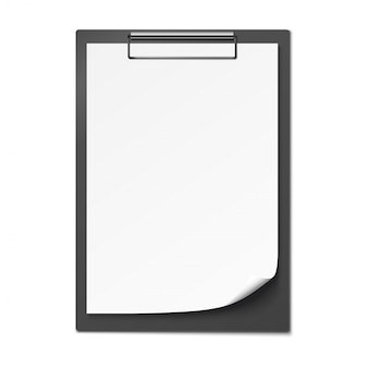 Prancheta com papel em branco.