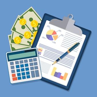 Prancheta com relatórios financeiros e caneta.