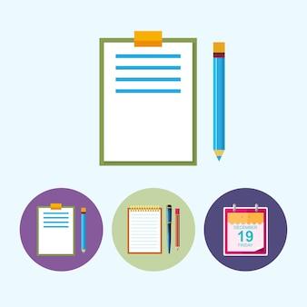 Prancheta com um lápis. conjunto de 3 ícones coloridos redondos, área de transferência com um lápis, caderno com a caneta e um lápis, folha de calendário de ícone, ícone de dados, ilustração vetorial