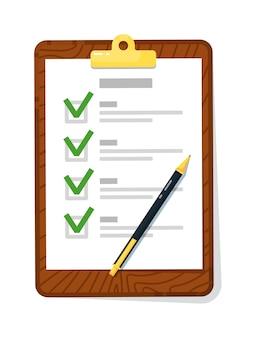 Prancheta da lista de verificação com marca de seleção e caneta isolada no branco