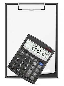 Prancheta de calculadora e folha em branco da ilustração em vetor conceito papel