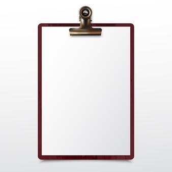 Prancheta de madeira com folha de papel branco em branco realista simulado acima