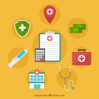 Prancheta e calculadora com elementos de saúde
