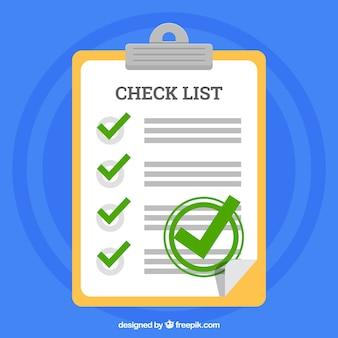 Prancheta e lista de verificação em design plano