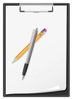 Prancheta em branco folha de papel caneta e lápis