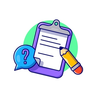 Prancheta, papel e ilustração do ícone dos desenhos animados do lápis. conceito de ícone de objeto de educação isolado. estilo flat cartoon