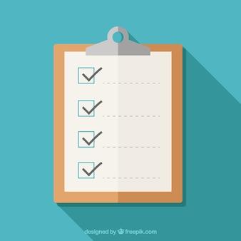 Prancheta plano com lista de verificação