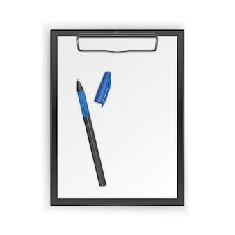 Prancheta preta com folha em branco e caneta realista