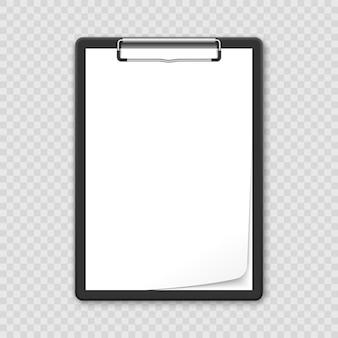 Prancheta preta realista 3d com folha branca em branco