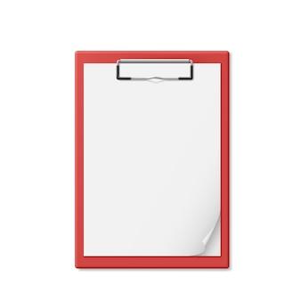 Prancheta vermelha com algumas folhas de papel.
