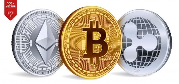 Prata de criptomoeda e moedas de ouro com símbolo de bitcoin, ripple e ethereum em fundo branco.