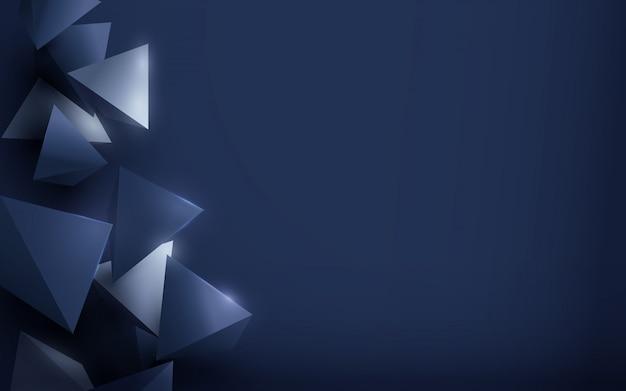 Prata de luxo abstrata e azul fundo poligonal.