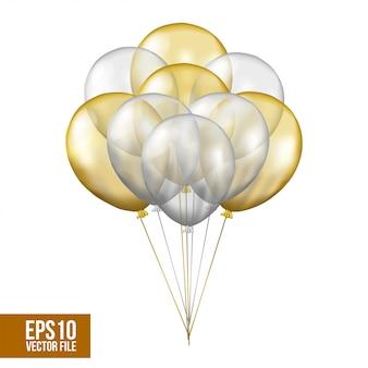 Prata e ouro voando balão de hélio transparente