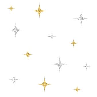 Prata sem costura e rosa padrão de estrela padrão