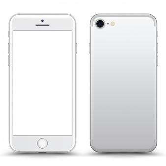 Prata / telefone branco com tela em branco isolada.