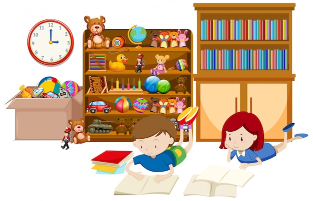 Prateleira cheia de livros e brinquedos em branco