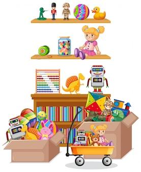Prateleira cheia de livros e brinquedos em fundo branco