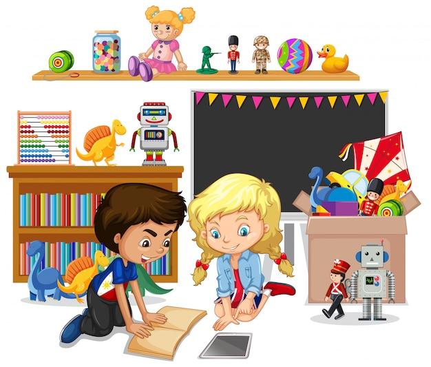 Prateleira cheia de livros e brinquedos