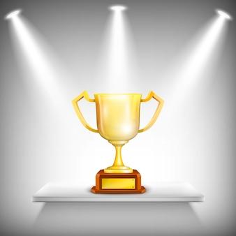 Prateleira com copo de troféu de ouro.