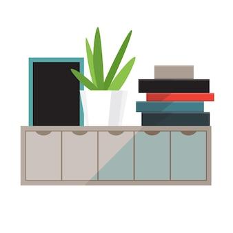 Prateleira com livros e ilustração da planta da casa