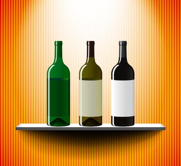Prateleira com três garrafas de vinho