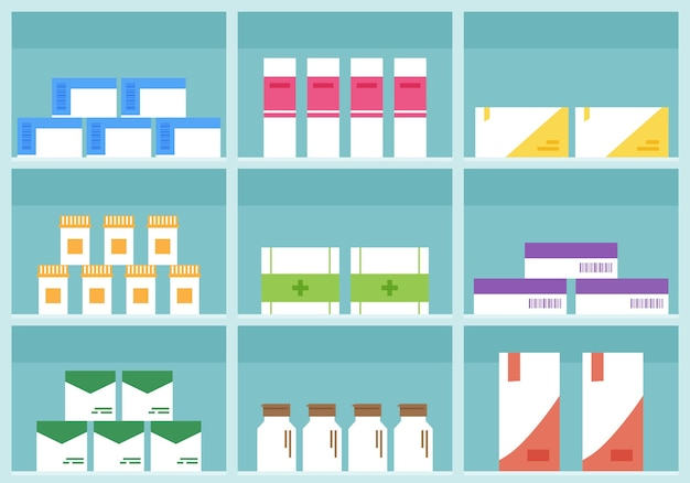 Prateleira da farmácia, loja de remédios, caixas de desenhos animados, pílulas e recipientes.