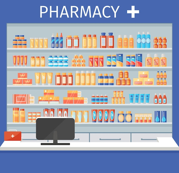 Prateleira da farmácia. remédios e remédios nas prateleiras das drogarias. ilustração vetorial.