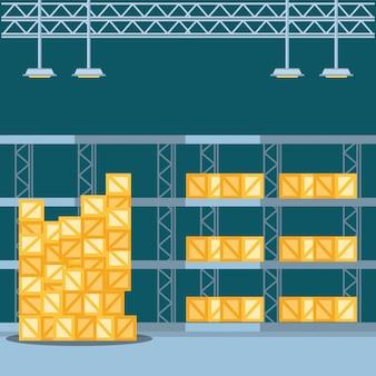 Prateleira de armazém com caixas de entrega