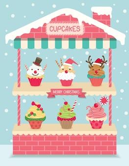 Prateleira de casa de cupcakes de Natal