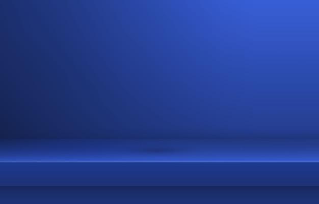 Prateleira de cor azul vazia com sombra