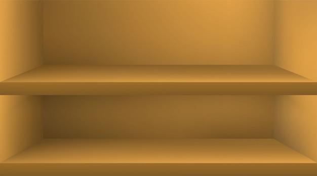 Prateleira de cor vazia com sombra
