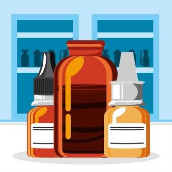 Prateleira de frascos de farmácia de remédios
