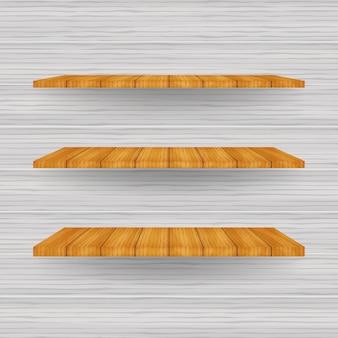 Prateleira de loja branca vazia, prateleiras de varejo do quadro de madeira compensada.