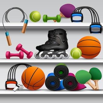 Prateleira de loja de esporte