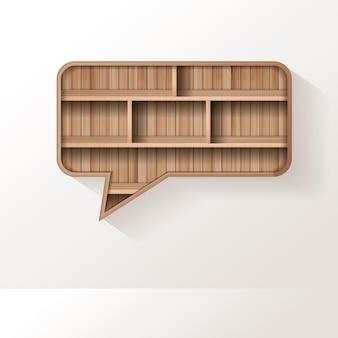 Prateleira de madeira com design criativo de balão de fala