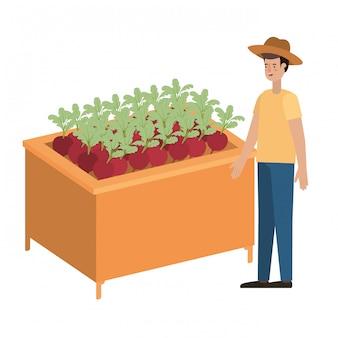 Prateleira de madeira com legumes e vendedor homem