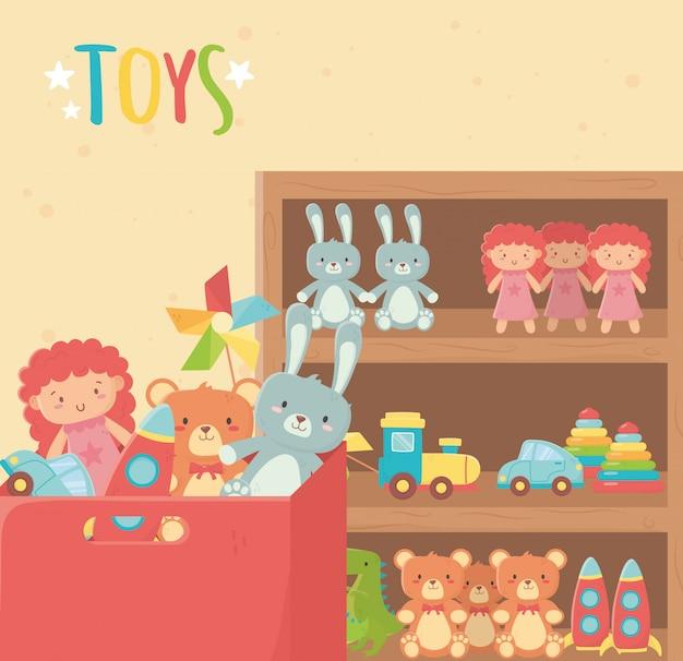 Prateleira de madeira e caixa de papelão com vários brinquedos
