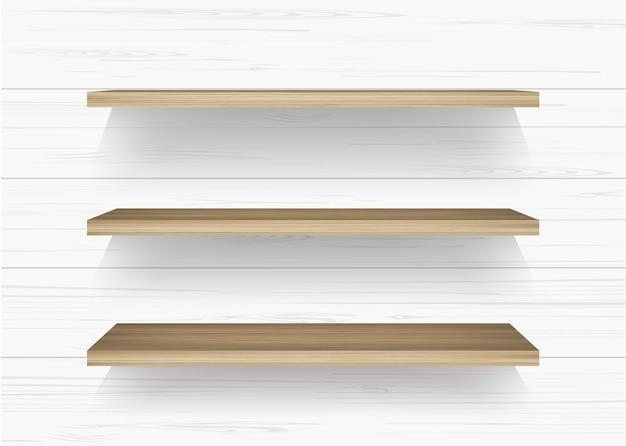 Prateleira de madeira no fundo da parede de madeira branca com sombra suave. ilustração vetorial.