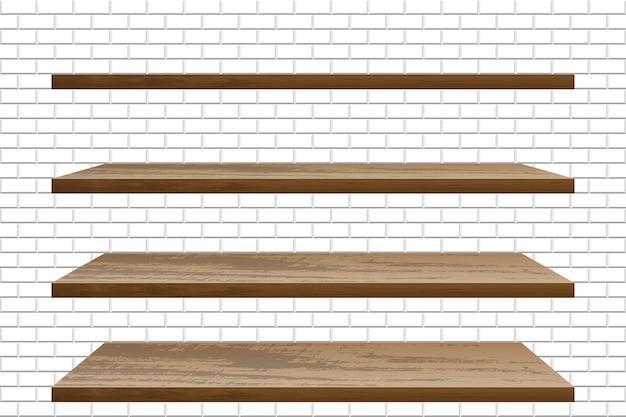 Prateleira de madeira vazia e realista na parede de tijolos