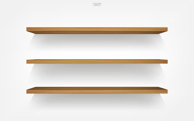 Prateleira de madeira vazia em fundo branco com sombra suave. ilustração vetorial.